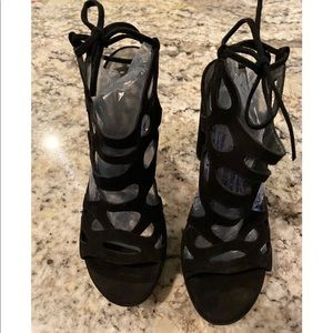 EUC Stuart Weitzman Black Suede Sandals Size 37.5